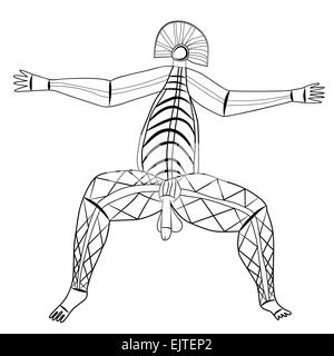 Primitive figures looks like cave painting - primitive art - deity of virility - Stock Photo