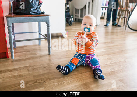 Portrait of baby with pacifier in mouth sitting on hardwood floor at home - Stock Photo