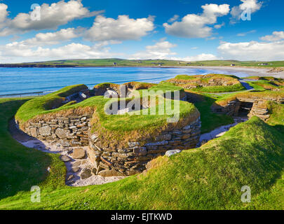 The neolithic settlement of Skara Brae, circa 3000 BC, the best preserved groups of prehistoric houses in Western - Stock Photo