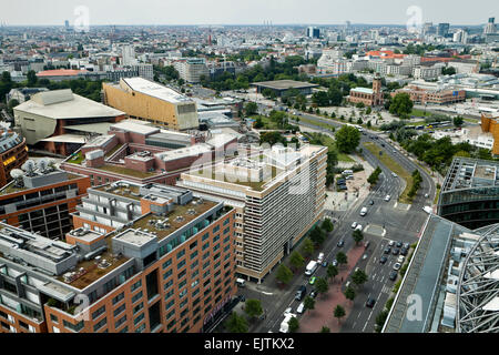 View from DB Tower towards the Potsdamer Strasse and State Library, New National Gallery, St. Matthew Church, Berlin, - Stock Photo