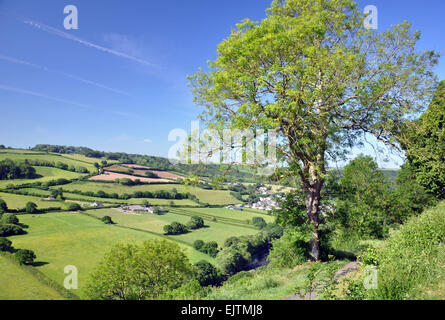 The view over the River Torridge valley from Castle Hill, Great Torrington, North Devon, England - Stock Photo