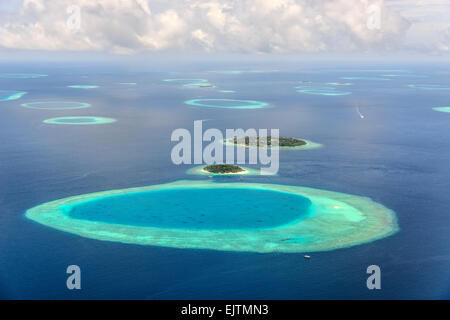 Small Maledives Islands in the south Male Atoll - Stock Photo