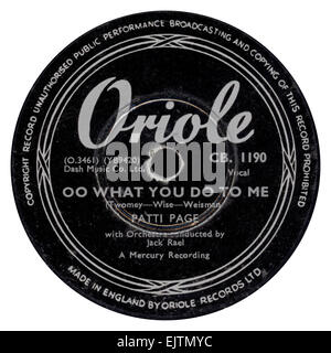 Oriole 78 rpm record label released July 1953 by Patti Page - Stock Photo