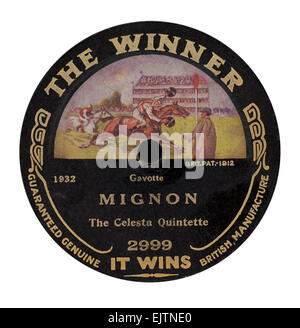 "Isolated on white The Winner 78 rpm record label released circa 1916 ""Mignon"" by The Celesta Quartette - Stock Photo"