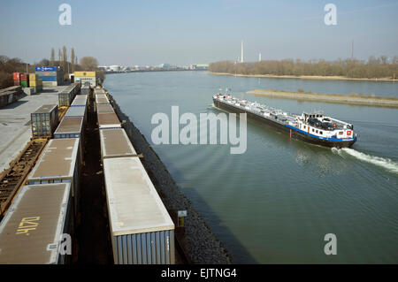 Container terminal and docks, Niehl, Cologne, Germany. - Stock Photo