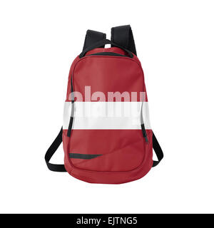 Latvian flag backpack isolated on white background. Back to school concept. Education and study abroad. Travel and - Stock Photo