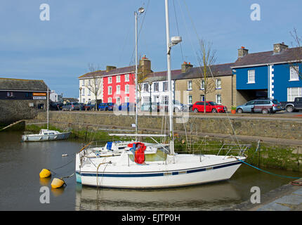 Boats in the harbour at Aberaeron, Ceredigion, Wales UK - Stock Photo