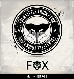 alternative black fox label - Stock Photo