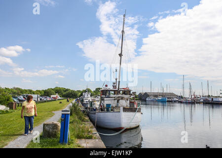 Glasson Dock near Lancaster, on the Lune Estuary, Lancashire. Boats moored on canalside - Stock Photo
