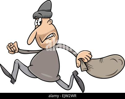 Cartoon Illustration of Thief Running Away with Sack - Stock Photo