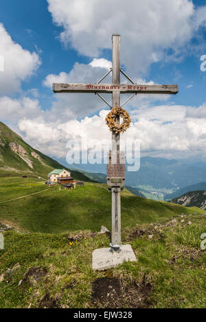The Padasterjoch Haus hut-refuge located on the Serleskamm ridge in the Stubai Alps of the Austrian Tirol - Stock Photo