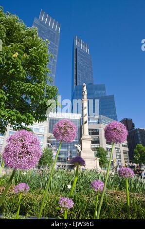FLOWERS TIME WARNER CENTER COLUMBUS CIRCLE MIDTOWN MANHATTAN NEW YORK CITY USA - Stock Photo