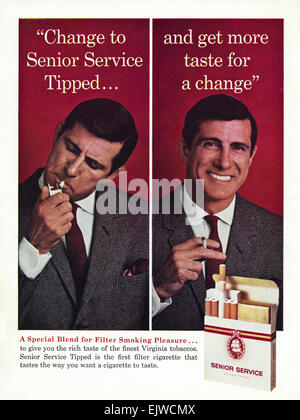 1960s advertisement magazine advert for SENIOR SERVICE filter tipped cigarettes dated 1964 - Stock Photo