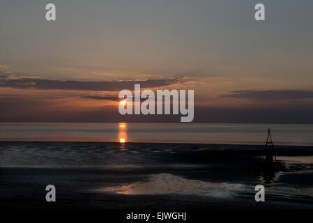 A Sunset over Hunstanton Beach, North Coast of  Norfolk, England, Uk, Gb - Stock Photo