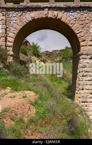 Aqueduct of Patones de Arriba, a village that belongs to Madrid province (Spain) This town has one of the best preserved - Stock Photo