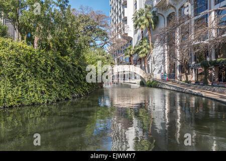 The San Antonio River Walk is a network of walkways along the banks of the San Antonio River, in San Antonio, Texas, - Stock Photo