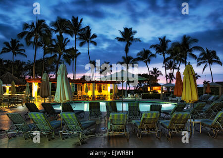 Evening paradise at this resort swimming pool on Hawaii's island of Maui. Stock Photo