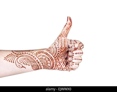 Woman hand with henna doing Merudanda mudra isolated on white background with clipping - Stock Photo