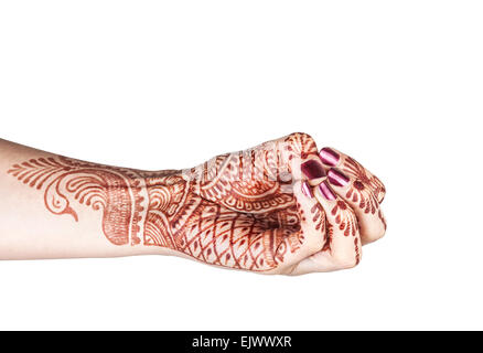Woman hand with henna doing mukula beak mudra isolated on white background with clipping path - Stock Photo