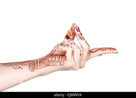 Woman hand with henna doing Bronchial mudra isolated on white background with clipping path - Stock Photo