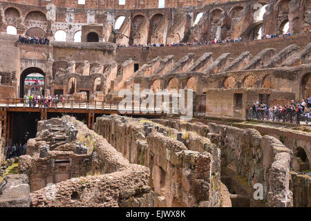 ROME, ITALY - MAY 04, 2014: People in the Colosseum in Rome, Italy - Stock Photo