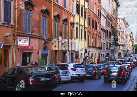ROME, ITALY - MAY 04, 2014: Cars on the street Via Quattro Fontane in Rome, Italy - Stock Photo