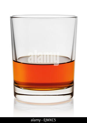 Glass of aged cognac isolated on white background - Stock Photo
