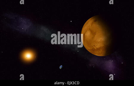 imaginary space journey to the red planet mars - Stock Photo