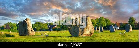 Avebury Neolithic standing stone circle, UNESCO World Heritage Site, Avebury, Wiltshire, England, United Kingdom - Stock Photo