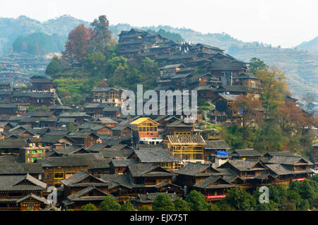 This is the biggest Miao village in Guizhou China - Stock Photo