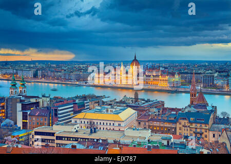 Budapest. Stormy weather over Budapest, capital city of Hungary. - Stock Photo