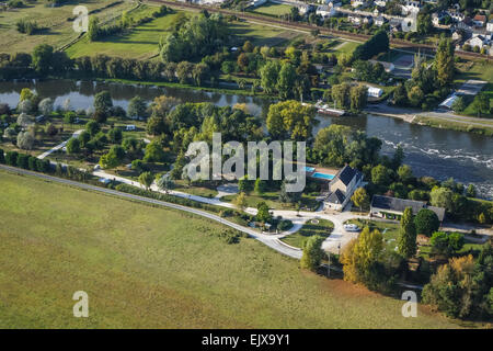 Camping le Moulin Fort beside the Cher in the Loire Valley, aerial view from a local ULM plane - Stock Photo