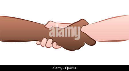 Interracial helping, rescuing, firm handshake grip. Illustration on white background. - Stock Photo