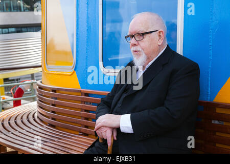 Liverpool, Merseyside, UK 2nd April, 2015. Sir Peter Blake at the Inaugural sailing of Newly Painted Dazzle Ferry - Stock Photo
