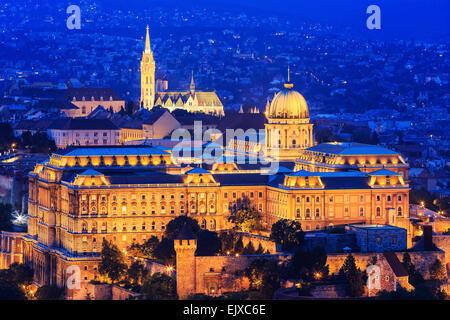 Royal Palace of Buda and Matthias church. Budapest, Hungary - Stock Photo