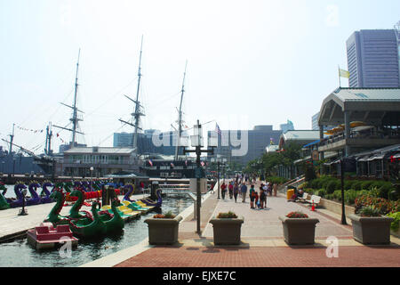 Outside the national aquarium in Baltimore, Maryland, USA - Stock Photo