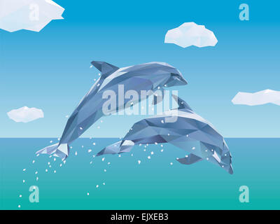 Low Poly Illustration of two Dolphins jumping out of the sea, clouds in the sky - Stock Photo
