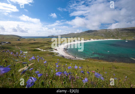 beach scene on vatersay barra outer hebrides - Stock Photo