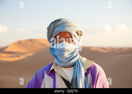 Morocco, portrait of nomad in the Sahara - Stock Photo