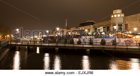 Germany, Ruhr area, Oberhausen, Centro by night - Stock Photo