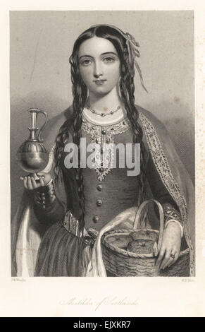 Matilda of Scotland, wife of King Henry I, Queen of England, with a basket of bread and metal jug. - Stock Photo