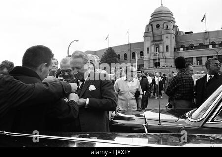 Tory leader Edward Heath signs autographs outside Wembley Stadium on day of World Cup Final, 30th July 1966. - Stock Photo