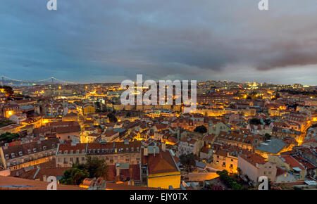 View over Lisbon, the capital of Portugal, at dawn - Stock Photo