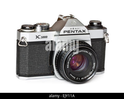 Vintage late 1970's Asahi Pentax K1000 35mm SLR film camera with Pentax-M 50mm f/2 SMC lens. - Stock Photo