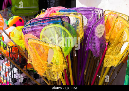 St Ives a charming historic seaside town  in Cornwall England UK Children's fishing nets - Stock Photo