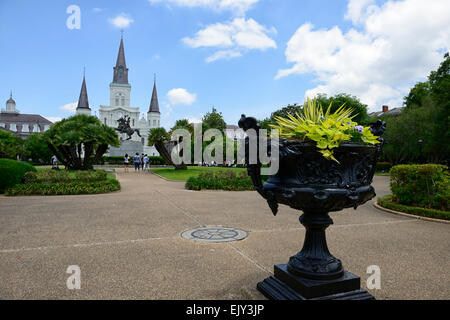 St Louis Cathedral Statue of General Andrew Jackson Jackson Square French Quarter New Orleans Louisiana RM USA - Stock Photo