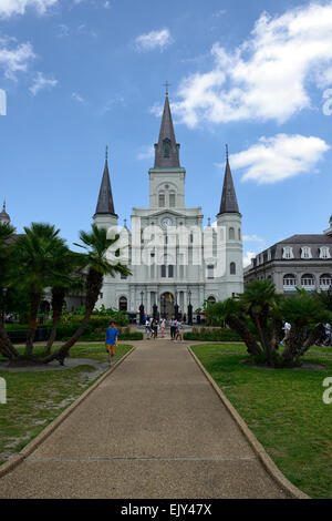 St Louis Cathedral jackson square new orleans church catholic religion religious tourism tourist attraction RM USA - Stock Photo