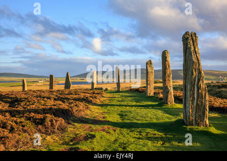 The Ring of Brodgar stone circle on Mainland Orkney. - Stock Photo