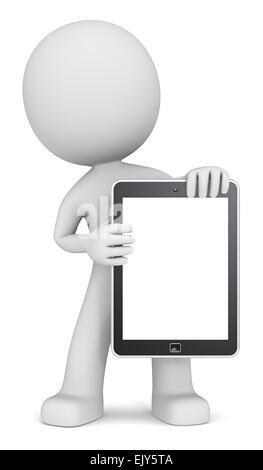 The dude 3D character holding Tablet Pad. Copy Space. - Stock Photo