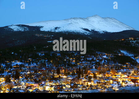 Snow-covered Bald Mountain and Breckenridge, Colorado USA - Stock Photo